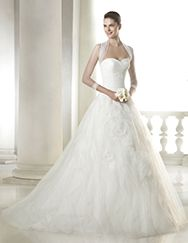Simona wedding dress from the Dreams 2015 - St Patrick collection | St. Patrick - dropped waist ball gown with rosette detail in skirt and tulle sleeves