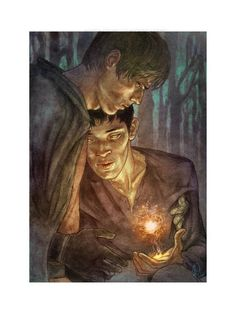 """Asher, the one who did this picture of Arthur and Merlin, was the one I asked to do my book covers. Merlin was the main inspiration to my story with other inspirations such as Jared Padalecki and Jensen Ackles to follow. This piece really resonated with what I wanted to convey in my story. Asher told me: """"You had me at 'Merlin'."""" And there you have it! :D"""
