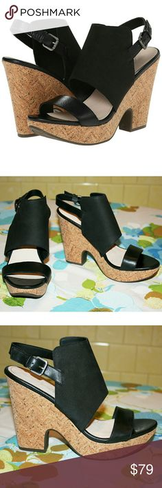 "Genuine Leather & Cork Slingback Wedge Sandal NIB These 60s Mod-inspired wedge sandals are sleek, modern, and timelessly stylish! The comfort is unbeatable - wear them all day without any soreness! The quality hand-finished leather is softer matte on the large strap with a contrasting shinier look on the toe & ankle straps. The ankle strap is adjustable with a buckle closure. Breathable synthetic lining, latex foam-cushioned footbed, 100% cork midsole, synthetic outsole. Heel is 4.25""…"