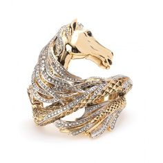 Roberto Cavalli Embellished Horse Cuff ($1,120) ❤ liked on Polyvore featuring jewelry, bracelets, rings, accessories, gold, gold tone jewelry, horse jewelry, gold bangles, horse bangle and gold jewelry