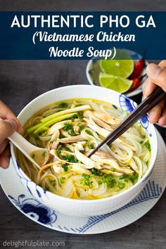 Authentic Pho Ga (Vietnamese Chicken Noodle Soup) is a true Viet classic. This homemade recipe includes both stovetop method and Instant Pot (pressure cooker) instructions. So easy and delicious! Pho Soup Recipe Chicken, Pho Soup Recipe Easy, Recipe For Pho, Best Pho Recipe, Instant Pot Pho Recipe, Vietnamese Pho Soup Recipe, Vietnamese Chicken Soup, Chinese Chicken Noodle Soup, Vietnamese Cuisine