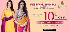 Festival Special Offer 10% off on designer sarees and salwar kameez on Pavitraa Fashion Buy Online. #salwarkameez, #casualsaree, #partywearsaree,#casualsalwarsuit, #partywearsalwarsuit, #designersaree http://www.pavitraa.in/ callus:+91-7698234040