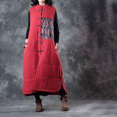 Mandarin Collar Pankou Decoration Vintage Waistcoat Patchwork Chinese Vest    #patchwork #pankou #red #vintage #vest #woman #outerwear #retro #Chinesestyle