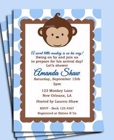 Baby Blue Monkey Invitation Printable -Monkey Birthday or Baby Shower Invite. $15.00, via Etsy.