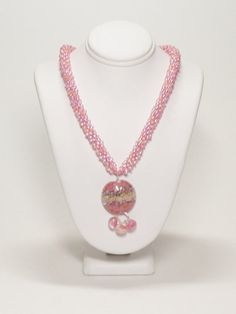Atlantic Sunrise Kumihimo Necklace with Pink/Peach Lampwork Pendant SRAJD 3520 LETeam