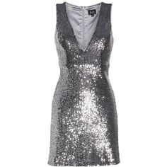 Women's Bardot Sequin A-Line Dress (515 BRL) ❤ liked on Polyvore featuring dresses, silver, plunging neckline cocktail dress, cocktail party dress, party dresses, sleeveless dress and silver sequin cocktail dress