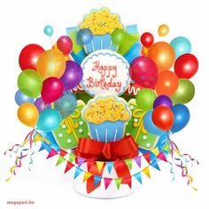 Happy Birthday (animated eCard) - Megaport Media Happy Birthday Balloons, Happy Birthday Wishes, Birthday Greetings, Animated Ecards, Animated Gifs, Birthday Card With Name, Birthday Cards, Share Pictures, Balloon Cake