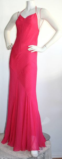 e6da9d8bed Ralph Lauren Evening Gown - Vintage Label Hot Pink Mermaid Gown Back