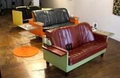 Old car seats + fridge = cool up-cycled sofa. Great for a study or man-cave!