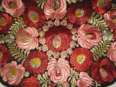 Superb 1920's Matyo Hand Embroidered Pink & Burgundy Floral Pillow or from victoriandreams on Ruby Lane