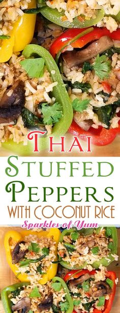 Thai Curry Stuffed Peppers - Today I have a unique twist on the average stuffed pepper recipe - Thai Curry Stuffed Peppers - SO FLAVORFUL! Best Dinner Recipes, Entree Recipes, Unique Recipes, Asian Recipes, New Recipes, Vegetarian Recipes, Favorite Recipes, Healthy Recipes, Interesting Recipes