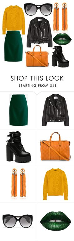 """""""Autumn party"""" by happydashulik ❤ liked on Polyvore featuring J.Crew, Acne Studios, Gucci, Begada, Isabel Marant, Alexander McQueen and LASplash"""