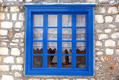 Traditional window in Hydra Island_ Greece