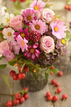 Early fall rustic cosmos centerpiece
