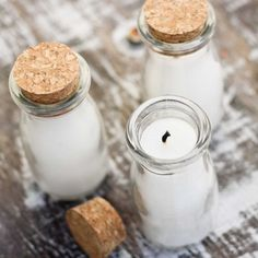 Learn how to make a candle in any jar - starting with these adorable mini milk glass bottles!  Such a lovely gift!