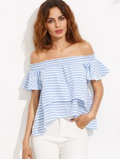 Blue Stripe Off The Shoulder High Low Blouse -SheIn(Sheinside) Mobile Site