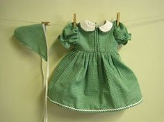 Green gingham dress - for baby