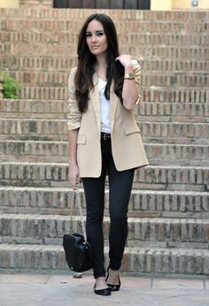 @roressclothes clothing ideas #women fashion beige blazer, black trousers, shoes.