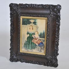 "19th century Naive Watercolour in original carved frame  Width: 12.5"" / 32 cm Height: 16"" / 41 cm"
