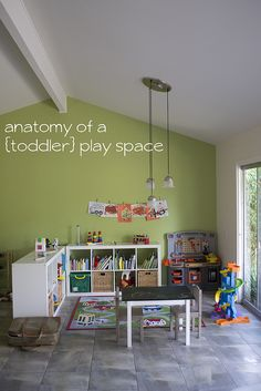like the color and points out key characteristics of toddler playroom