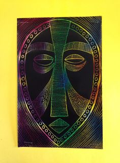 TeachKidsArt African Masks With Scratch Art Paper Line Pattern Repetition Symmetrical