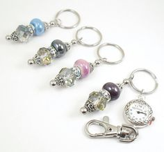 Rainbow Crystal and Ceramic Beaded Key Chain, Purse Embellishment, Zipper Pull with Watch Face