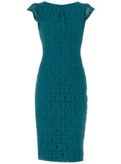 Turquoise lace pencil dress with flutter sleeve and gold zip on the back wearing length 107 cms. 100% Polyester. Machine washable.
