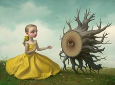"""The Apology"" by Mark Ryden  ""In an especially lovely painting, a girl in a yellow dress sits before an upturned stump, her hands raised in a gesture of graceful conciliation. An eye at the center of the stump receives the offering with dignity."""