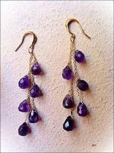 Gold, Rose Gold or Silver. Amethyst Gem, Amethyst Jewelry, Purple Amethyst, Purple Gold, Crystal Jewelry, Gemstone Jewelry, Beaded Jewelry, Dark Purple, Rose Gold