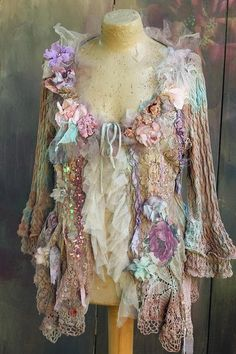 Misty day jacket linen jacket hand dyed antique laces
