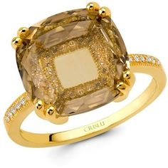 Crislu Ring, 18k Gold Over Sterling Silver Cubic Zirconia Ring (5-7/8 Ct. T.W.)