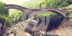 Photo about From this bridge, young people and some brave jump to the river Verzasca. And Old roman bridge. Image of ponte, scenery, south - 73869233 Stock Image, Young People, All Pictures, Brave, Scenery, Things To Sell, Landscape, Landscapes, Paisajes