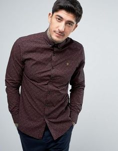 Farah Slim Fit Paisley Shirt In Red
