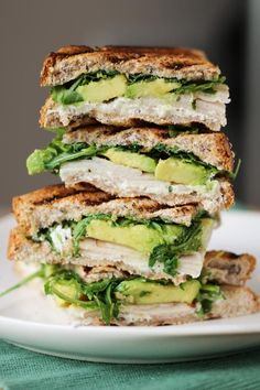Turkey, Avocado, & Goat Cheese Panini on whole grain bread