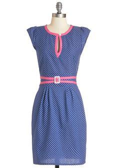 Dessert Swap Dress. Its a tie between which is sweeter - your denim-blue, dotted dress by Trollied Dolly, or the homemade pastries youve made for tonight. #blue #modcloth
