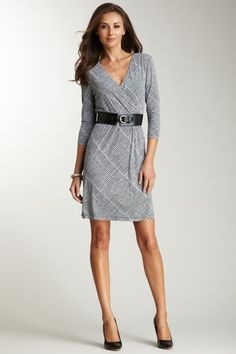 Long Sleeve Houndstooth Wrap Dress