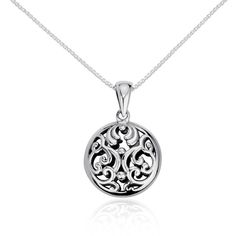 Blue Nile Filigree Circle Pendant ($30) ❤ liked on Polyvore featuring jewelry, necklaces, accessories, jóias, circular pendant, sterling silver filigree jewelry, sterling silver pendants, round pendant and blue nile
