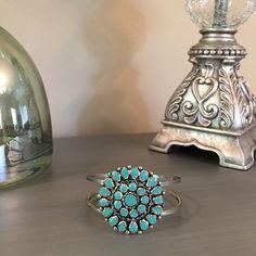 Silver Turquoise Bangle Bracelet Silver tone.  Simulated stones. Independent Designer Jewelry Bracelets
