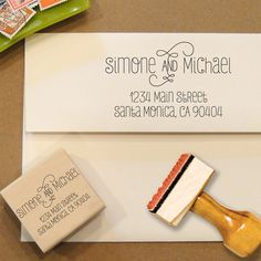 Custom Return Address Stamp for Save the Dates and Invitations... so much easier than the annoying little stickers