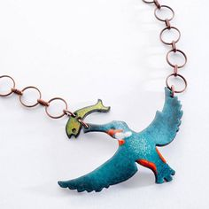 kingfisher and fish enamel necklace by saba jewellery Bird Jewelry, Enamel Jewelry, Clay Jewelry, Jewelry Design, Jewellery, Copper Jewelry, Vitreous Enamel, Copper Necklace, Green Necklace