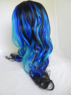 20% OFF SALE Party In Paradise / Black, Royal Blue, Aqua / Long Wavy Layered Wig Mermaid. $136.00, via Etsy.