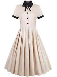 REORIA Womens 1950s Vintage Short Sleeve Modest Casual Swing Cocktail Dress Khaki Medium ReoRia http://www.amazon.com/dp/B01B0Q1AMY/ref=cm_sw_r_pi_dp_aFH7wb09AXGV2