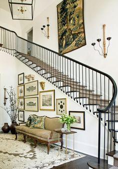 stairwell ; stairwell decor ; foyer stairs ; stairwell lighting ; stair runner ; stair runner ideas ; sisal stair runner | Amy Morris Interiors ; Atlanta, GA ; interior design
