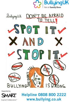 Design your own anti-bullying poster - stop bullying - Bullying UK Stop Bullying Posters, Anti Bullying Week, Be A Nice Human, Primary School, Family Life, To Tell, Safety, Advice, Community