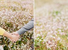 flowers + hand holding.