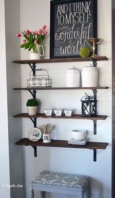 The blank wall wasn't big enough for a piece of furniture, but was perfect for shelves.