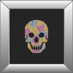 Skull Cross Stitch Pattern, PDF, Floral, Instant Download, DMC Threads