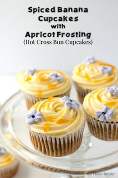 Spiced Banana Cupcakes with Apricot Frosting (Hot Cross Bun Cupcakes) | The Flavor Bender