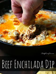 Ingredients:  1 Pound of Ground Beef,  ¼ Cup of White Onion, Diced,  2 Garlic Cloves, Diced,  1 Cup of Enchilada Sauce,  2 Cups of Monterrey Jack,  Olive Oil,  Tortilla Chips ( For Dipping).