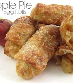 apple pie egg rolls - followed the recipe exactly.... really good; nice and crispy! I used canola oil (candy thermometer to get the temp right). Next time, will lay out the 12 egg roll wrappers then put the apples on before rolling as using 2T gave me 16 and would have been better to have less with more apple in each one. You won't regret trying this one!